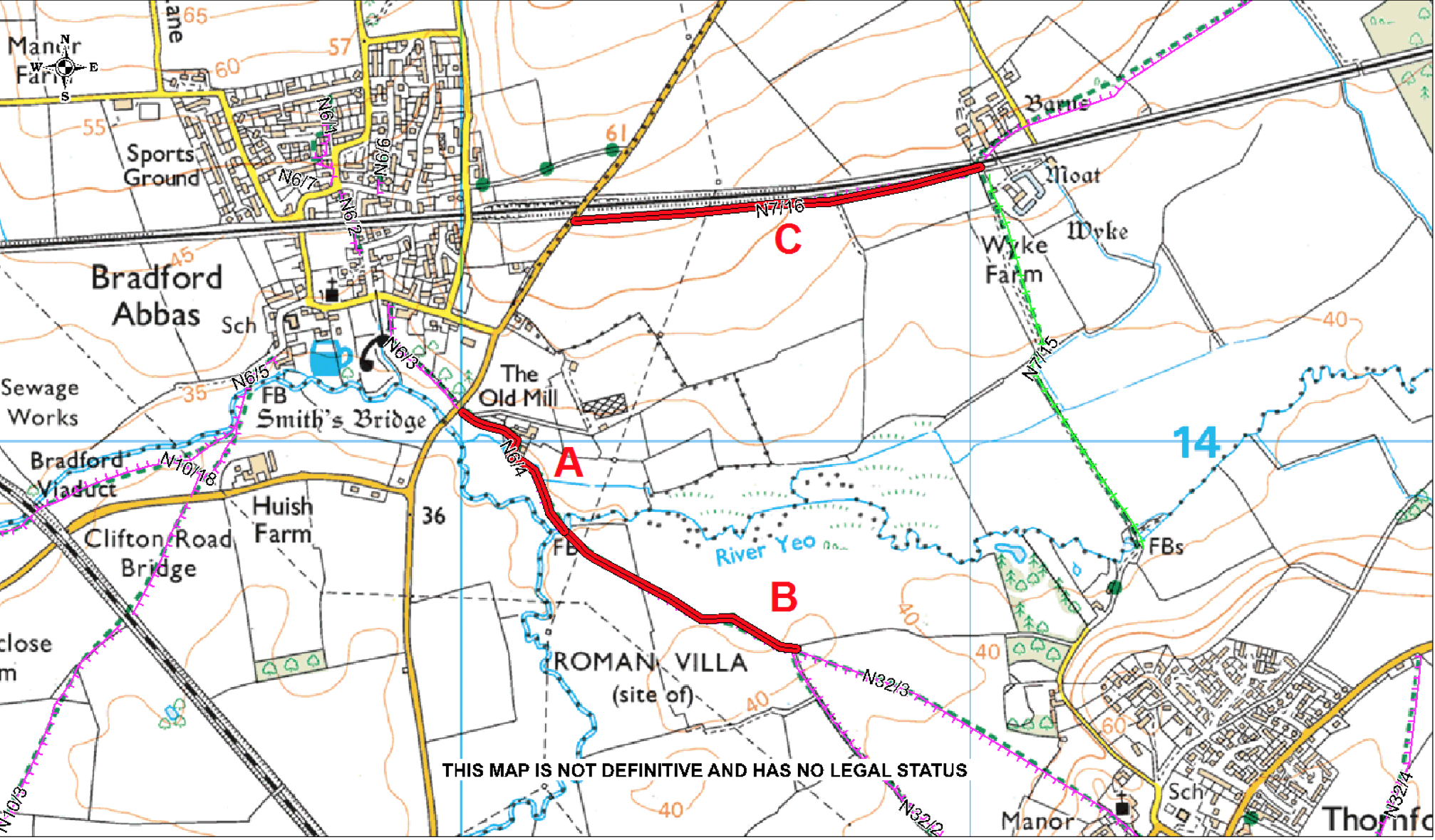 Map of footpath to be closed