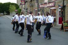 Morris dancers outside the Rose and Crown